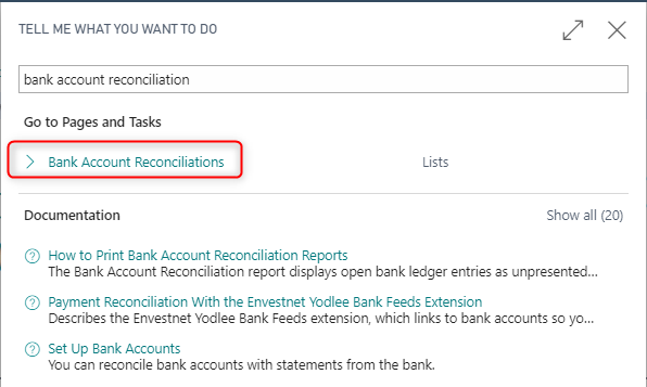 Bank Reconciliation in Business Central