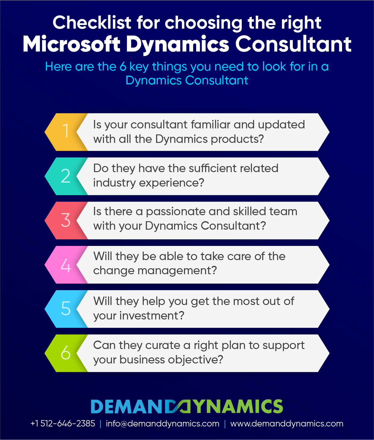 6 Things You Need to Look for in a Microsoft Dynamics Consultant Inforgraphic